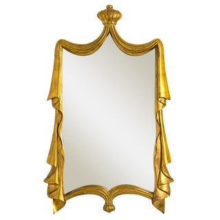 Italian Baroque Gilt Wood Crown & Drapery Mirror For Sale