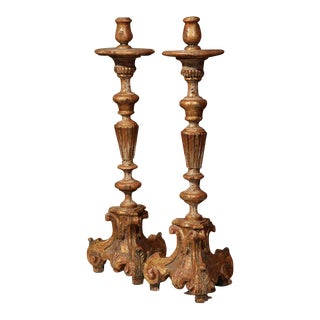 Early 20th Century Italian Carved Pricket Candlesticks With Gilt - A Pair For Sale