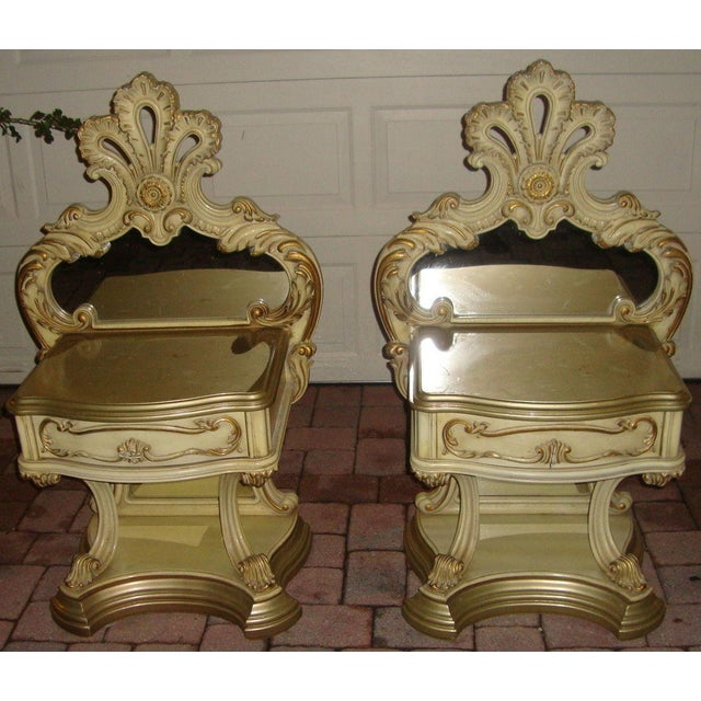 Mid Century Modern Hollywood Regency Painted Mirrored Commodes, nightstands. These pieces have exquisite detail and...