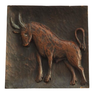 Spanish Carved Wood Bull Carving
