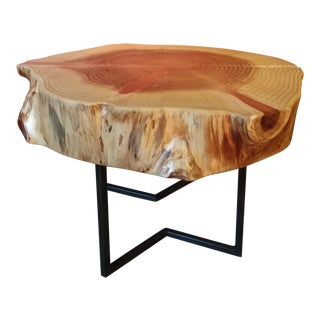 Redwood Round Slab Side Table
