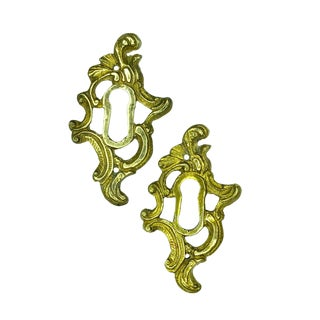 Antique French Rococo Brass Escutcheon Keyhole Cover - a Pair For Sale
