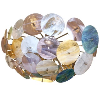 Contemporary Italian Yellow, White, Aqua Murano Glass Oval Sputnik Flush Mount For Sale