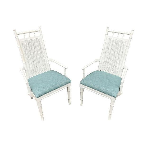 1950s White Lacquered Faux-Bamboo Wicker Back Vintage Dining Chairs - Set of 5 For Sale - Image 5 of 12