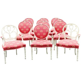 Jansen Style Distressed Painted Dining Chairs - Set of 12
