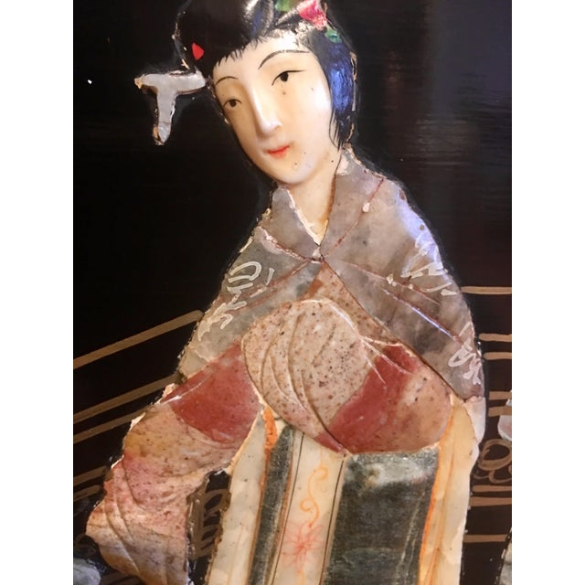Chinoiserie Wall Art With Semi Precious Stones For Sale - Image 4 of 9