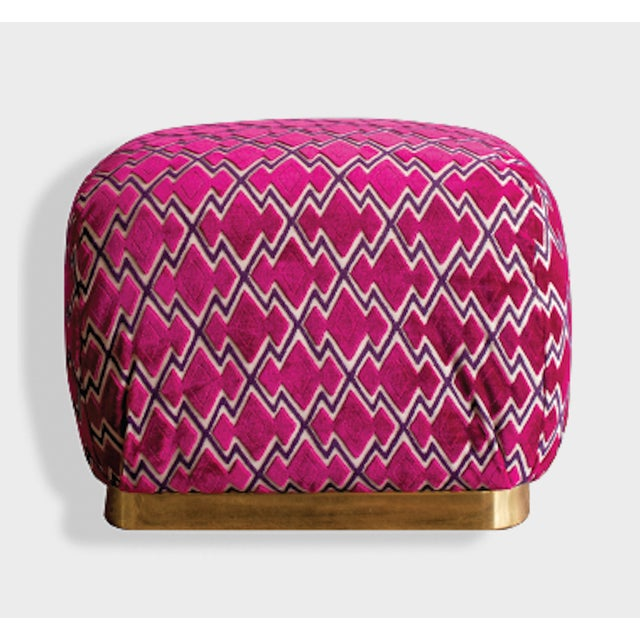 Vintage pouf in the style of Karl Springer. Upholstered in Dedar fabric - Bold fuchsia pink. Square brass base. The...