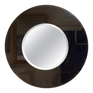 Large Italian Fontana Arte Style Round Beveled Mirror For Sale