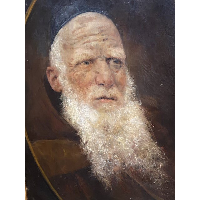 Antique 19th C. Oil on Canvas Portrait of a Jewish Man Hebrew Beautiful Frame For Sale - Image 4 of 12