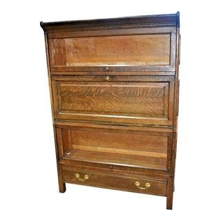 Vintage 3-Stack Oak Barrister Bookcase For Sale