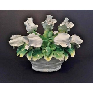1960s 'Capodimonte Leaning Tulips in Basket Decor Item Preview