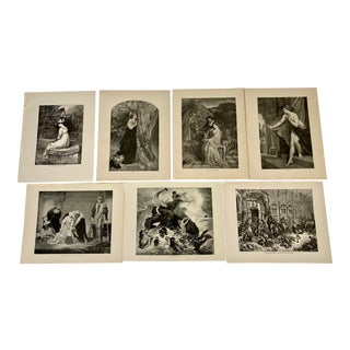 1892 Antique Characters From the Works of Alfred Lord Tennyson Poetry Prints - Set of 7 For Sale