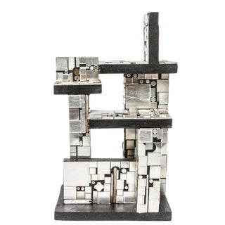 Industrial Metal and Wood Tabletop Abstract Sculpture For Sale
