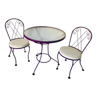 Midcentury Wrought Iron 3-Pieces Fresh Purple Bistro Set- Set of 3 For Sale