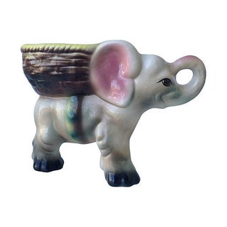 1950's Ceramic Glazed Elephant Plant Holder For Sale