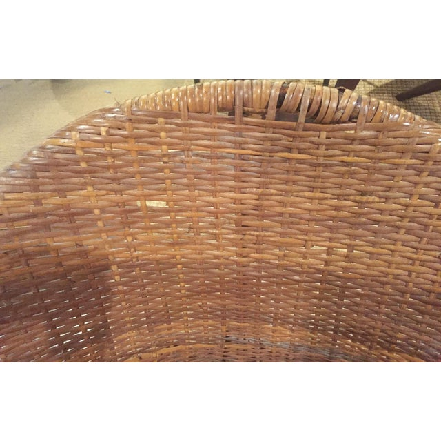 Mid-Century Rattan Wicker Hoop Chairs - Pair - Image 6 of 9