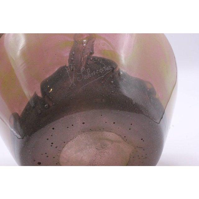 Pink 1920s Charles Schneider Pink Art Glass Squat Vase For Sale - Image 8 of 12