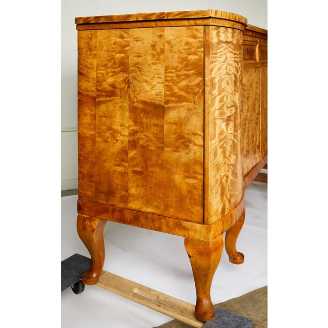 Swedish Art Deco Sideboard of Bookmatched Golden Flame Birch For Sale - Image 11 of 13