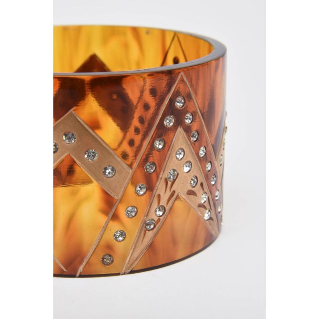 French Tortoise Resin and Rhinestone Cuff Bracelet For Sale - Image 9 of 10