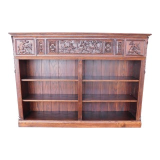"Antique Oak Gothic Revival Carved Open Front Book Case 68""w For Sale"