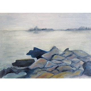 Rocky Gray Beach Painting For Sale