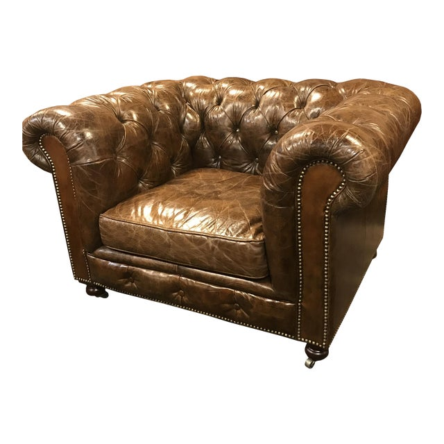 Restored Distressed Vintage Brown Leather Chesterfield Club Armchair - Image 1 of 7