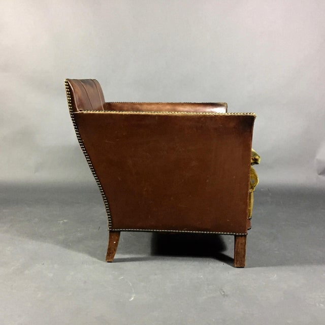 1940s 1940s Swedish Square-Back Leather Club Chair For Sale - Image 5 of 11