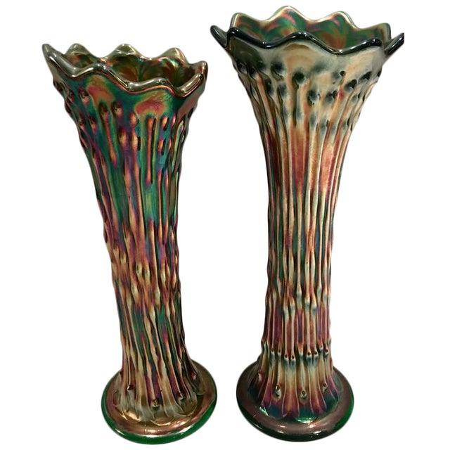 Antique Fenton American Green Art Glass Vases A Pair Chairish
