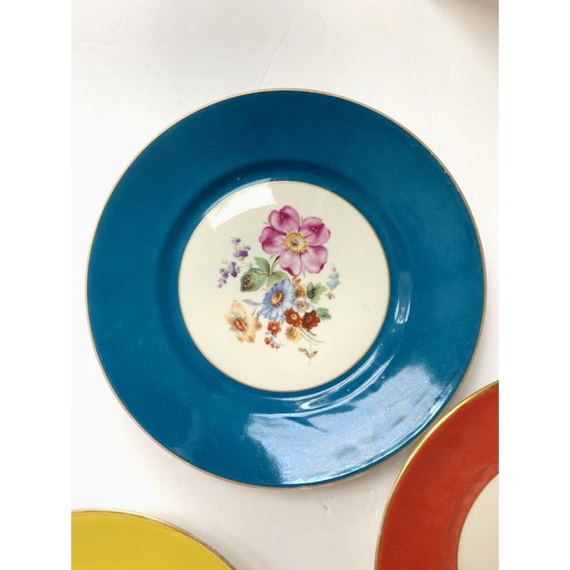 Vintage Richard Ginori Italy, Multicolored Porcelain Salad / Dessert Plates, Flower Patterns , Set of 5 For Sale In Miami - Image 6 of 13