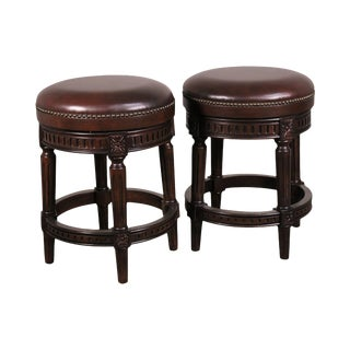 Louis XVI Style Pair Brown Leather Swivel Counter Stools For Sale