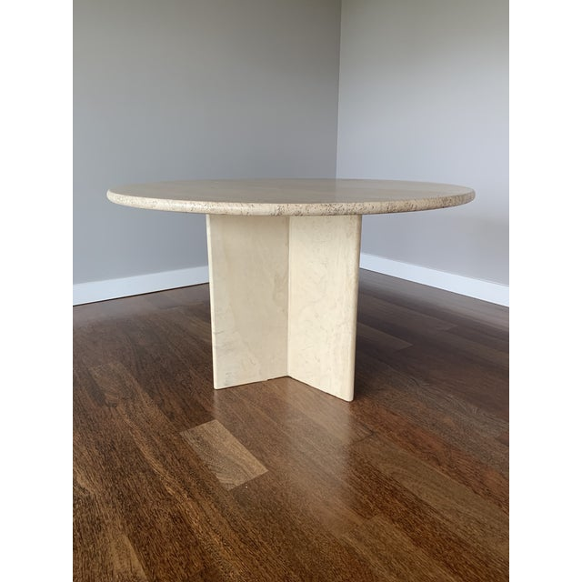 1970s Hollywood Regency Round Travertine Dining Table For Sale - Image 11 of 11