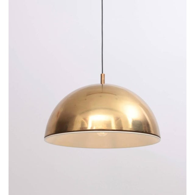 Huge Brass Pendant Lamp from 1960s Italy with White Enamel Inner Shade For Sale - Image 9 of 9