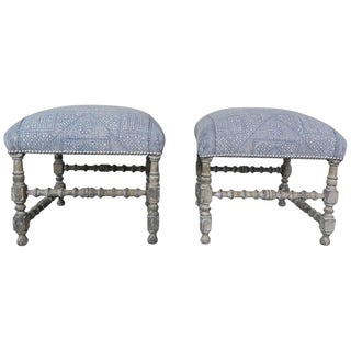 Painted Swedish Benches With Batik Cotton Upholstery, Circa 1930s For Sale