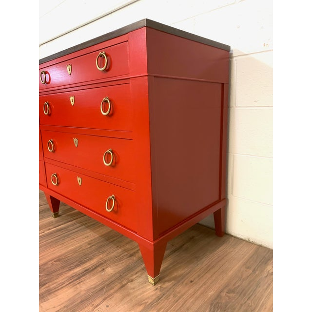 Beautifully repainted Baker Furniture chest of drawers. Top is maple finished in walnut stain and satin top coat. Base is...