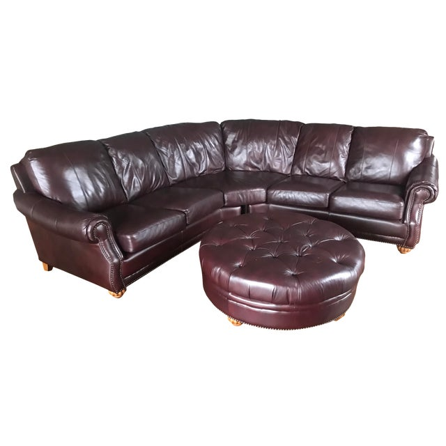 Italian Leather Sectional & Ottoman - Image 1 of 10