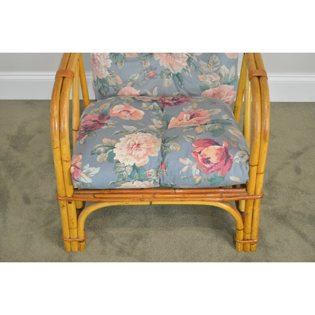 Ward Wicker Vintage Antique Pair of Split Reed Rattan Lounge Chairs For Sale In Philadelphia - Image 6 of 13