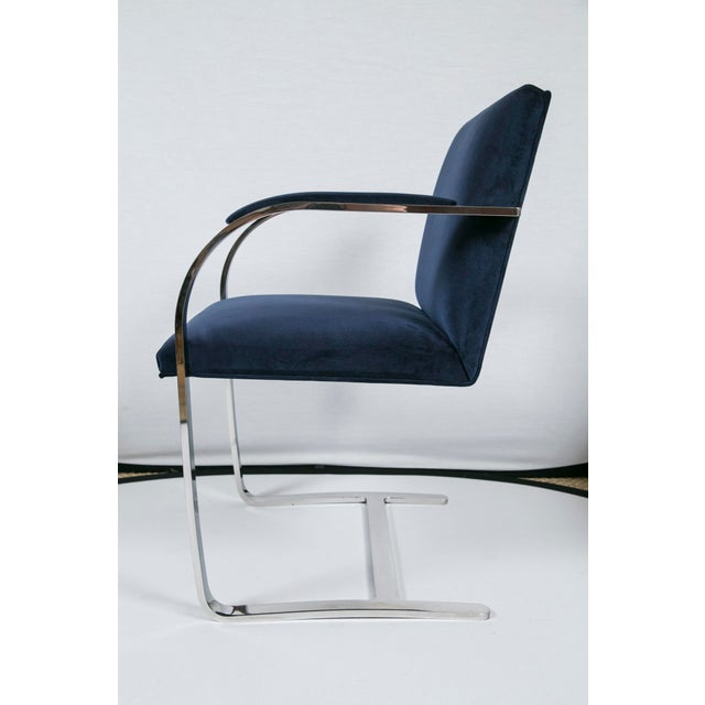 Mid-Century Modern Brno Flat Bar Navy Velvet Chairs - S/6 For Sale - Image 3 of 9