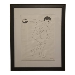 The Discus Thrower Original Drawing For Sale