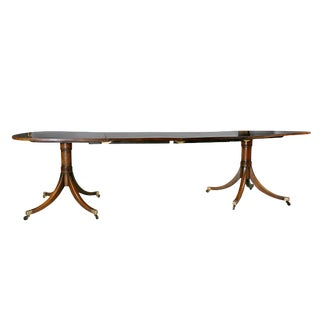 Regency Style Mahogany and Cross Banded Two Pedestal Dining Table For Sale
