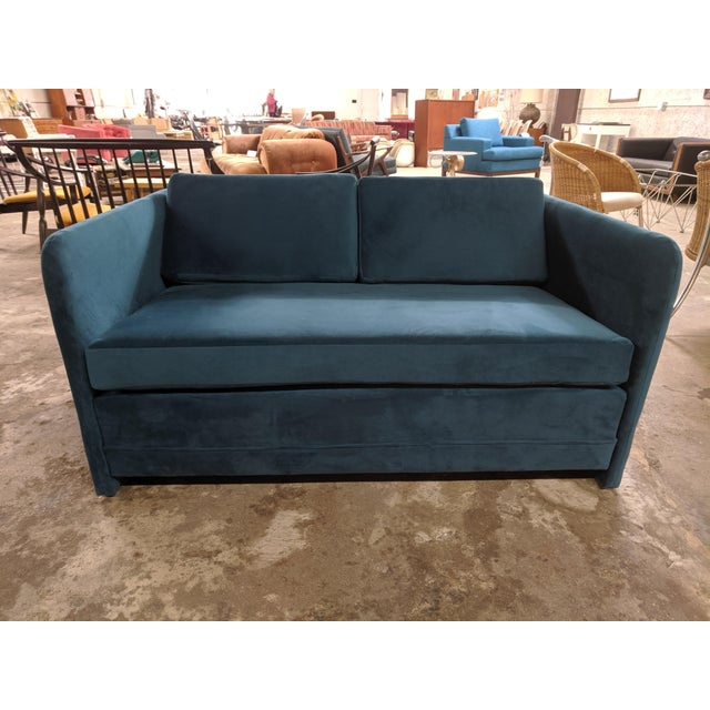 Textile Vintage 1980's Reupholstered Love Seat in Crushed Turquoise Velvet With Rounded Arms For Sale - Image 7 of 9