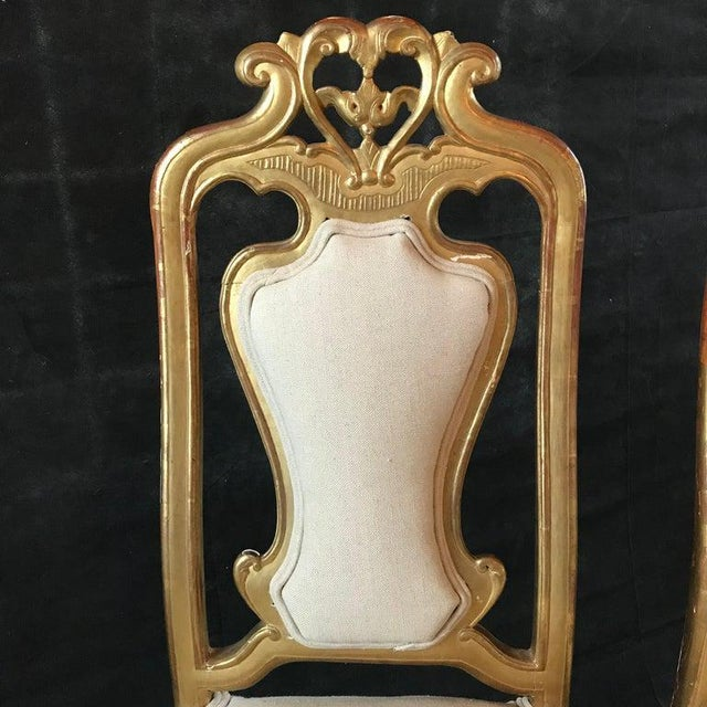 White Late 19th Century French Giltwood Chairs- A Pair For Sale - Image 8 of 11