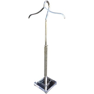 Height Adjustable Coat/Shirt Holder in Lucite & Nickel by Charles Hollis Jones For Sale