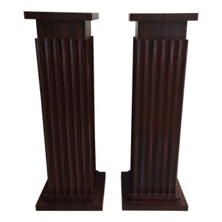 Pair of Large 1930s Art Deco Rosewood Pedestals For Sale