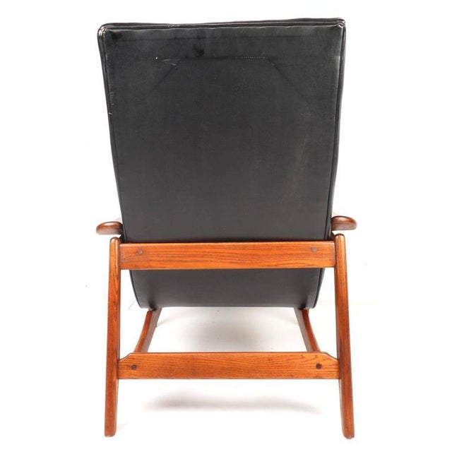Mid-Century Modern Tufted Vinyl Lounge Chair and Ottoman - Image 5 of 10