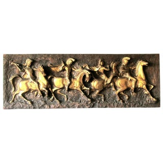 J. Segura Roman Soldiers on Horses Cast Resign Wall Sculpture, 1960s For Sale