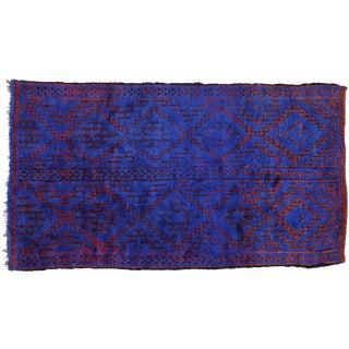 Vintage Blue Indigo Beni M'Guild Moroccan Rug - 6′8″ × 11′11″ For Sale