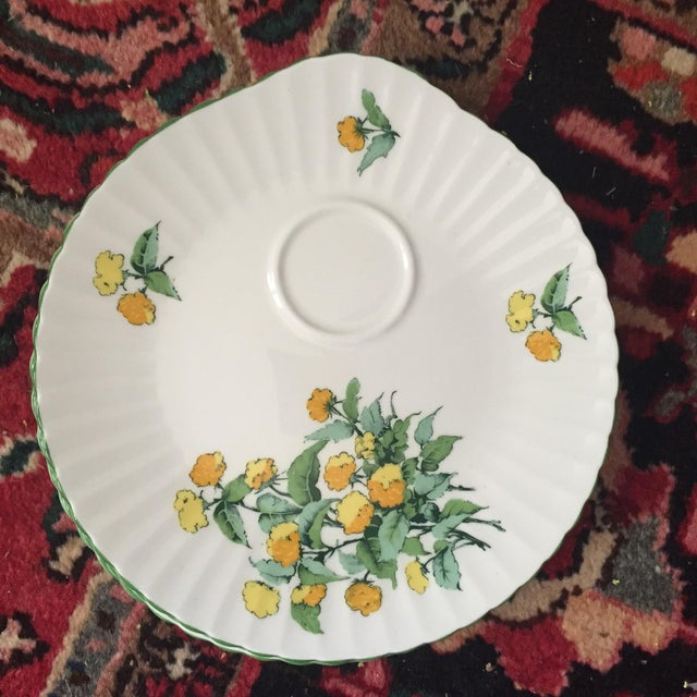 Ceramic Staffordshire Cornwall Scalloped Teacup Dessert Plates - Set of 4 For Sale - Image 7 of 7