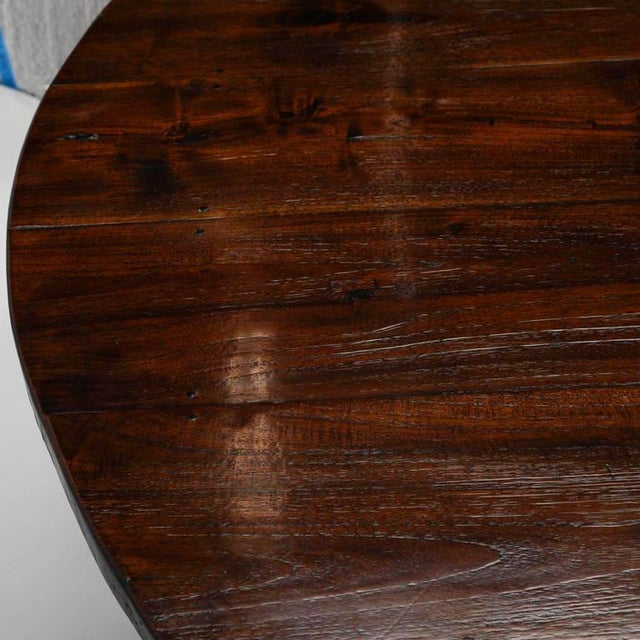 19th Century English Round Chestnut Farmhouse Dining Table - Image 6 of 9
