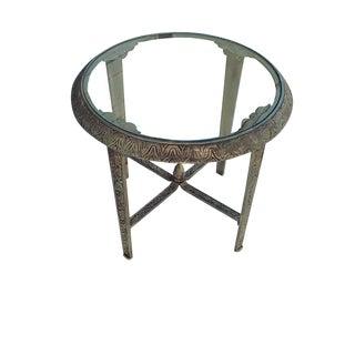 Antique French Caste Metal Art Nouveau Side Table Antique French Gilt Art Nouveau Glass Top Accent Table For Sale