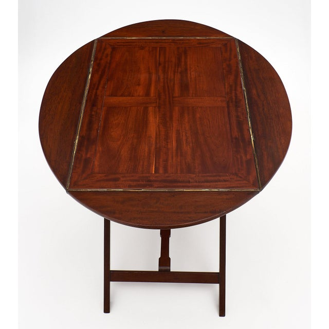 1920s English Campaign Style Mahogany Tray Table For Sale - Image 5 of 10